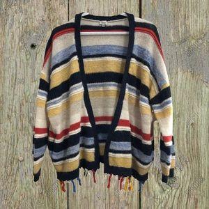 Kismet, boho fringe, striped cardigan.